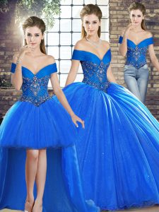 Sleeveless Beading Lace Up Quinceanera Dresses with Royal Blue Brush Train