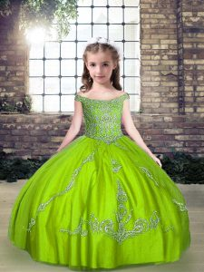 Ball Gowns Beading Pageant Dress for Womens Lace Up Tulle Sleeveless Floor Length
