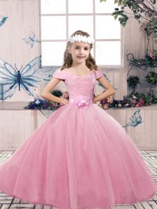 High Quality Floor Length Lace Up Pageant Dress Pink for Party and Wedding Party with Lace and Bowknot