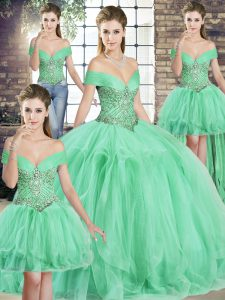 Floor Length Lace Up Quinceanera Gown Apple Green for Military Ball and Sweet 16 and Quinceanera with Beading and Ruffles