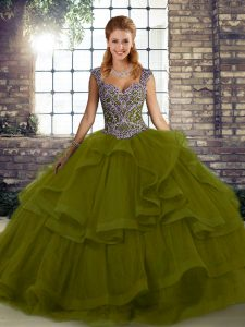 Stylish Beading and Ruffles 15 Quinceanera Dress Olive Green Lace Up Sleeveless Floor Length