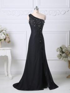 One Shoulder Sleeveless Brush Train Side Zipper Evening Party Dresses Black Taffeta
