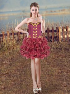 Embroidery and Ruffles Prom Dress Burgundy Lace Up Sleeveless Mini Length