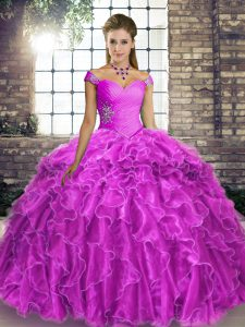 Top Selling Lilac Sweet 16 Dresses Off The Shoulder Sleeveless Brush Train Lace Up