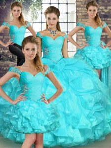 Beautiful Floor Length Aqua Blue Quinceanera Gown Off The Shoulder Sleeveless Lace Up