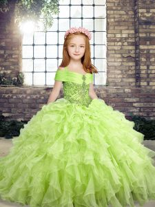 Straps Sleeveless Organza Kids Formal Wear Beading Lace Up