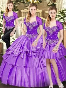 Stylish Lavender Lace Up Quinceanera Dress Beading and Ruffled Layers Sleeveless Floor Length