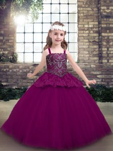Floor Length Fuchsia Pageant Dresses Straps Sleeveless Lace Up