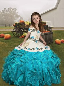 Sleeveless Floor Length Embroidery and Ruffles Lace Up Pageant Dress with Aqua Blue