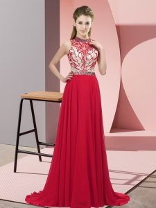 New Arrival Red Sleeveless Beading Backless Prom Party Dress