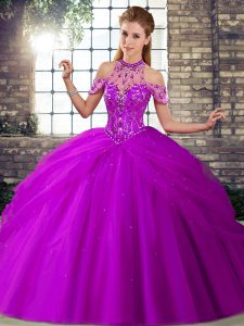 Purple Sleeveless Brush Train Beading and Pick Ups Quinceanera Gowns