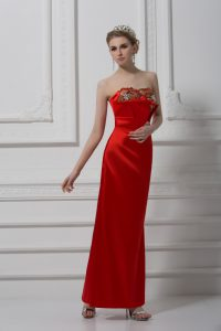 Suitable Red Prom Evening Gown Prom and Party and Military Ball with Beading and Appliques Sweetheart Sleeveless Lace Up
