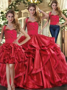 Spectacular Floor Length Three Pieces Sleeveless Red Quinceanera Dress Lace Up