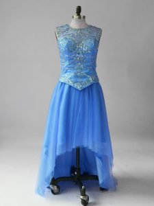 High Low Empire Sleeveless Blue Celebrity Dress Brush Train Lace Up
