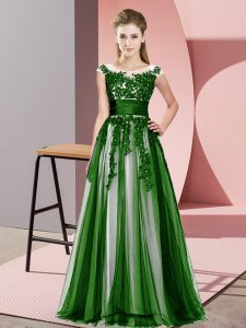 Gorgeous Green Sleeveless Beading and Lace Floor Length Bridesmaid Dress