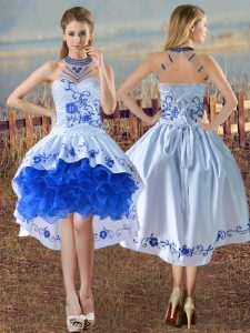 Top Selling Blue And White Sleeveless Satin and Organza Lace Up Prom Gown for Prom and Party and Military Ball
