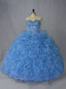 Popular Organza Sleeveless Quince Ball Gowns Brush Train and Beading and Ruffles