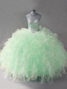 Fantastic Sleeveless Lace Up Floor Length Beading and Ruffles 15 Quinceanera Dress