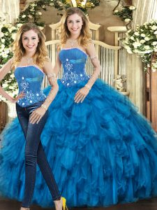 Floor Length Blue 15 Quinceanera Dress Tulle Sleeveless Beading and Ruffles