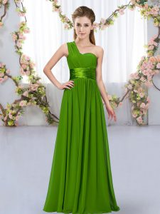 Colorful Chiffon Sleeveless Floor Length Quinceanera Court Dresses and Belt