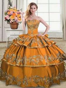 Elegant Brown Satin and Organza Lace Up Sweet 16 Quinceanera Dress Sleeveless Floor Length Embroidery and Ruffled Layers