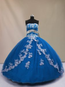 Exceptional Blue Ball Gowns Strapless Sleeveless Tulle Floor Length Lace Up Appliques Sweet 16 Dress