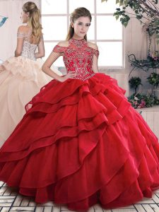Comfortable High-neck Sleeveless Ball Gown Prom Dress Floor Length Beading and Ruffled Layers Red Organza