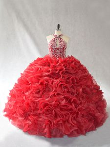 Red Halter Top Lace Up Beading and Ruffles Quince Ball Gowns Brush Train Sleeveless