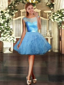 Scoop Sleeveless Tulle Lace and Ruffles Backless