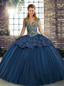 Superior Navy Blue Straps Neckline Beading and Appliques Quinceanera Gowns Sleeveless Lace Up