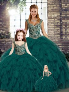 Simple Sleeveless Floor Length Beading and Ruffles Lace Up Quinceanera Gown with Peacock Green