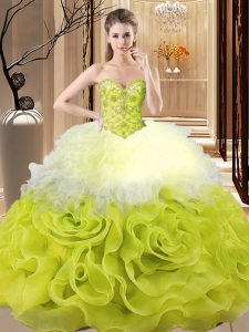 Flirting Multi-color Sleeveless Organza Lace Up Quinceanera Gown for Sweet 16 and Quinceanera