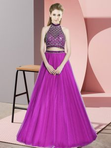 Fuchsia Halter Top Sleeveless Tulle Floor Length Beading Prom Evening Gown