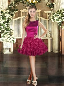 Mini Length Lace Up Prom Gown Burgundy for Prom and Party with Ruffles