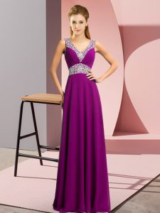 Sleeveless Chiffon Floor Length Lace Up Prom Dress in Purple with Beading
