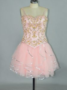 Pink Spaghetti Straps Lace Up Beading and Ruffles Prom Evening Gown Sleeveless
