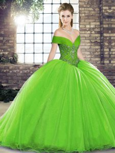 Sleeveless Brush Train Lace Up Beading Quince Ball Gowns