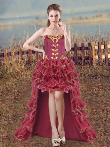 High Low Burgundy Homecoming Dress Organza Sleeveless Embroidery and Ruffles