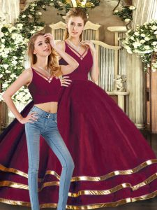 Shining Burgundy Sleeveless Ruffled Layers Floor Length 15 Quinceanera Dress