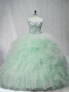 Pretty Beading and Ruffles 15th Birthday Dress Apple Green Lace Up Sleeveless Brush Train