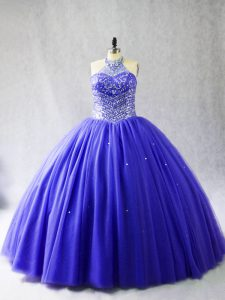 Blue Ball Gowns Beading Quinceanera Dresses Lace Up Tulle Sleeveless
