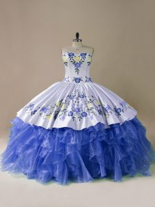Blue And White 15th Birthday Dress Sweet 16 and Quinceanera with Embroidery and Ruffles Sweetheart Sleeveless Brush Train Lace Up