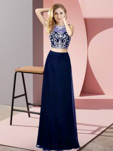 Great Chiffon Scoop Sleeveless Backless Beading in Blue