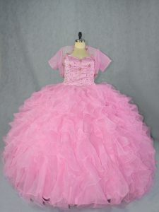 Baby Pink Ball Gowns Organza Sweetheart Sleeveless Beading and Ruffles Floor Length Lace Up Ball Gown Prom Dress