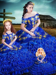 Royal Blue Off The Shoulder Lace Up Embroidery and Ruffles Sweet 16 Quinceanera Dress Sleeveless