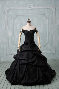 Sleeveless Pick Ups and Hand Made Flower Lace Up 15th Birthday Dress with Black Brush Train