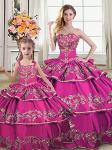 Customized Fuchsia Sleeveless Ruffled Layers Floor Length Quince Ball Gowns