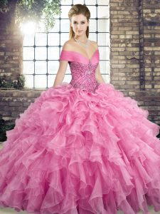 Captivating Ball Gowns Sleeveless Rose Pink Quinceanera Gowns Brush Train Lace Up