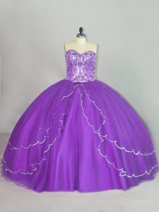 Tulle Sweetheart Sleeveless Brush Train Lace Up Beading and Sequins 15 Quinceanera Dress in Purple