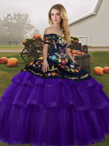 Sophisticated Sleeveless Tulle Brush Train Lace Up Quinceanera Dress in Black And Purple with Embroidery and Ruffled Layers